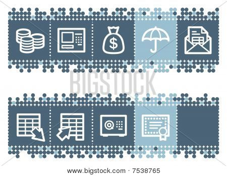 Blue dots bar with banking web icons