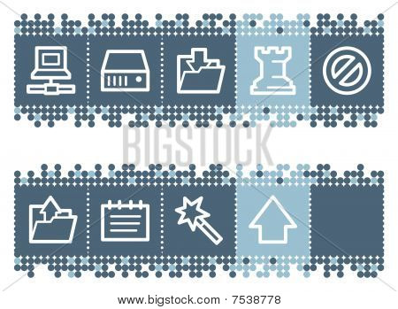 Blue dots bar with data web icons
