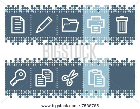 Blue dots bar with document web icons set 1