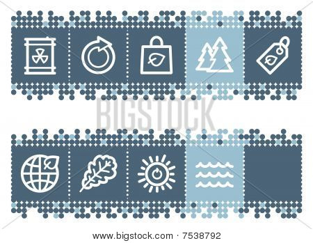 Blue dots bar with ecology web icons set 3