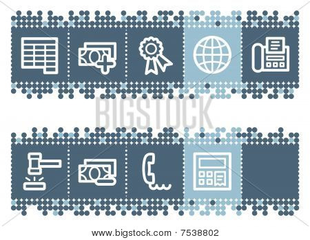 Blue dots bar with finance web icons set 2