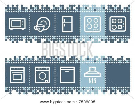 Blue dots bar with home appliances web icons