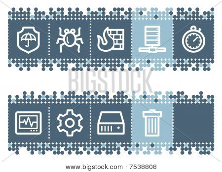 Blue dots bar with internet security web icons