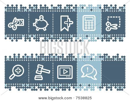 Blue dots bar with basic shopping icons set 3