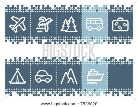Blue dots bar with travel web icons set 1