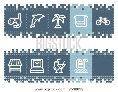 Blue dots bar with vacation web icons