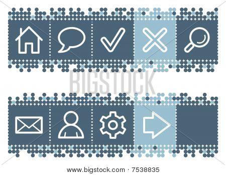 Blue dots bar with basic web icons