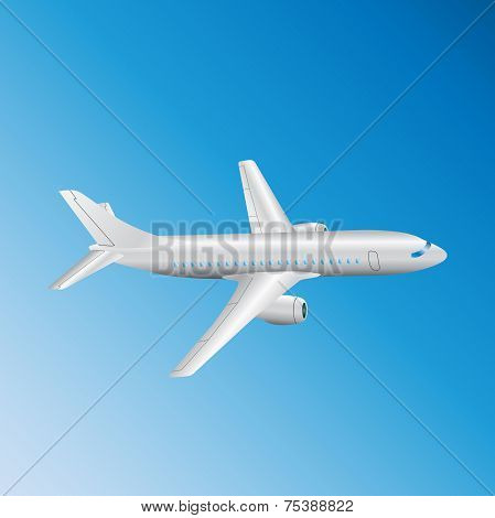 Big White Passenger Airplane on the blue sky background
