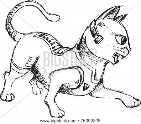 Cat Warrior Sketch Doodle Vector Illustration Art