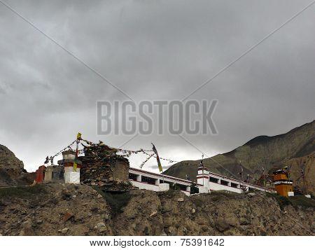Buddhistic Mani Wall On Dark Monsoon Day