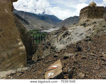 Buddhistic Stupa Near Himalayan City Kagbeni