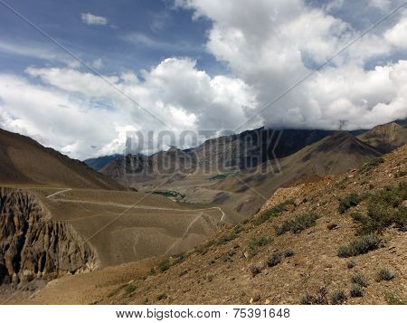 Bushy And Dry Scenery Of Himalayas In Monsoon