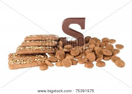 Chocolate Letter, Speculaas And Ginger Nuts, Dutch Sweets