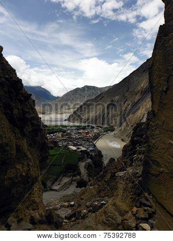 Himalayan City Kagbeni As Seen Through A Gorge