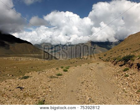 Jeep Road In Desert-like Himalayan Scenery