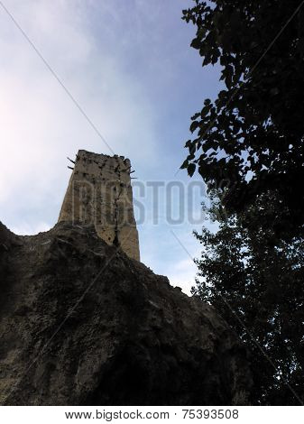 Ruins Of An Ancient Monastary On A Cliff