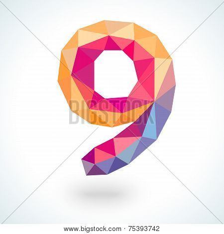 Number nine in modern polygonal crystal style. Vector illustration
