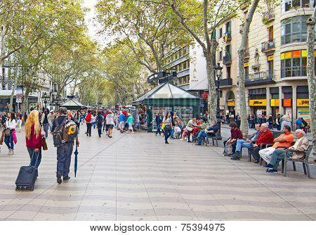 People In La Rambla (the Boulevard), Barcelona