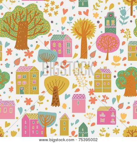 Bright cartoon urban seamless pattern. Cute houses and trees on bright background in vector. Seamless pattern can be used for wallpaper, pattern fills, web page background, surface textures.