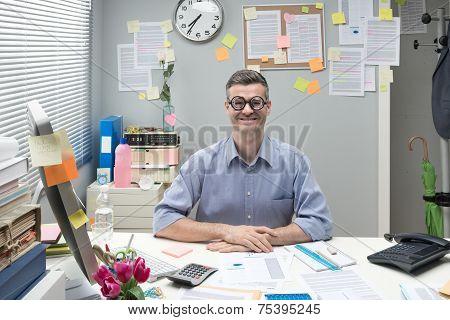 Nerd Businessman At Work