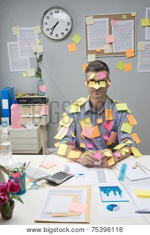 Busy White Collar Covered With Stick Notes