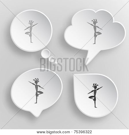 Ethnic little man as yogi. White flat raster buttons on gray background.