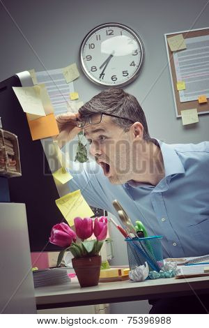 Businessman Reading Shocking News Online