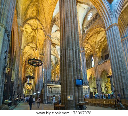 Interior Of The Gothic Barcelona Cathedral (catedral De Barcelona)