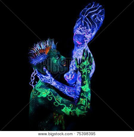 Body art glowing in ultraviolet light,  four elements, Land Loves Air
