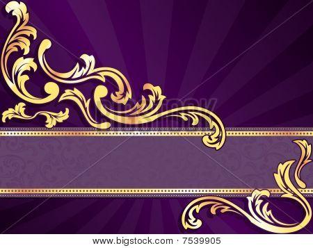 Purple horizontal banner with gold filigree
