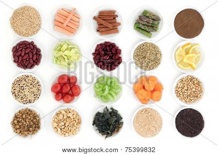 Large diet and weight loss super food selection in porcelain bowls over white background.
