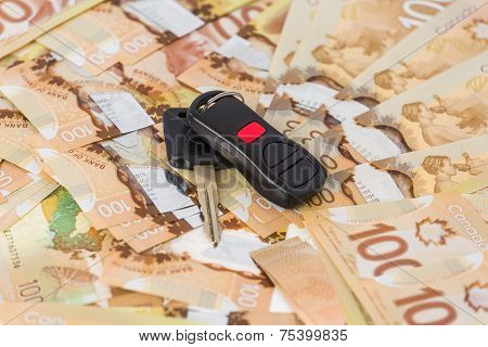 Keys From Car On Banknotes