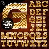 pic of gold nugget  - Shiny font of gold and diamond vector illustration - JPG