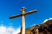 picture of inri  - Old wooden cross  - JPG