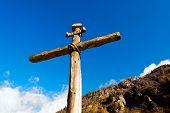 pic of inri  - Old wooden cross  - JPG
