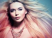 picture of hair motion  - Closeup portrait of the beautiful  woman with long white  hair - JPG