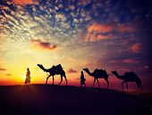 stock photo of camel  - Vintage retro effect filtered hipster style image of  Rajasthan travel background  - JPG