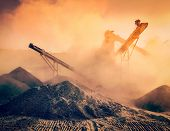 picture of open-pit mine  - Vintage retro effect filtered hipster image of Industrial hell pollution background concept  - JPG