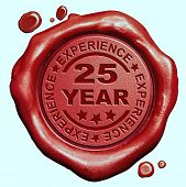 image of credential  - 25 Year experience quality and jubileum label guaranteed product red wax seal stamp  - JPG