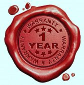 stock photo of wax seal  - 1 Year warranty quality label guaranteed product red wax seal stamp  - JPG