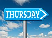 pic of thursday  - thursday sign event calendar or meeting schedule  - JPG