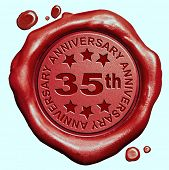 picture of credential  - 35th anniversary thirty five year jubilee red wax seal stamp  - JPG