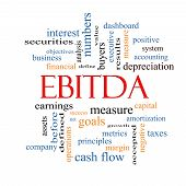 pic of amortization  - EBITDA Word Cloud Concept with great terms such as earnings before taxes interest and more - JPG