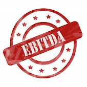 pic of amortization  - A red ink weathered roughed up circles and stars stamp design with the word EBITDA on it making a great concept - JPG