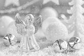 stock photo of christmas angel  - Christmas decoration with angel and snow in winter - JPG