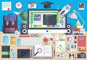 stock photo of education  - Flat modern design vector illustration concept of creative school desktop - JPG