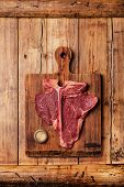 stock photo of t-bone steak  - Raw fresh meat T - JPG