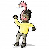 stock photo of parasite  - cartoon man with alien parasite - JPG