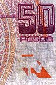 stock photo of pesos  - Closeup of a 50 Peso Banknote featuring details - JPG