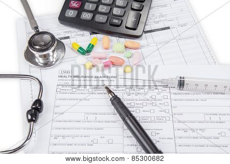 Stethoscope With Health Insurance Claim Form